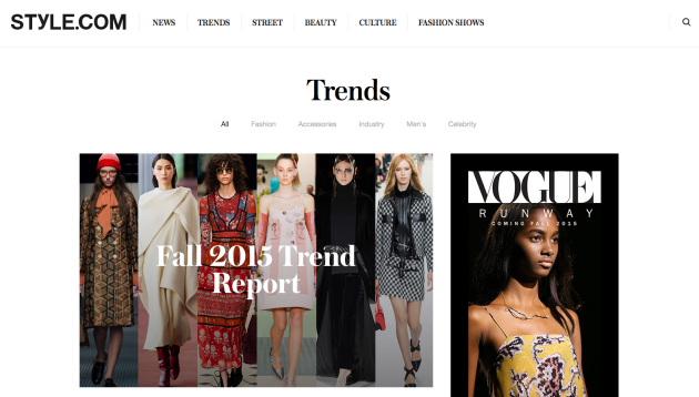 Style.com is a great source for keeping up with fashion and accessory trends