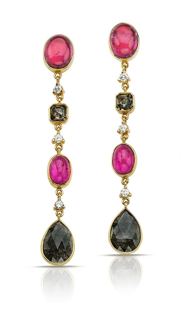 Pamela Huizenga Black White Diamond And Pink Tourmaline Earrings