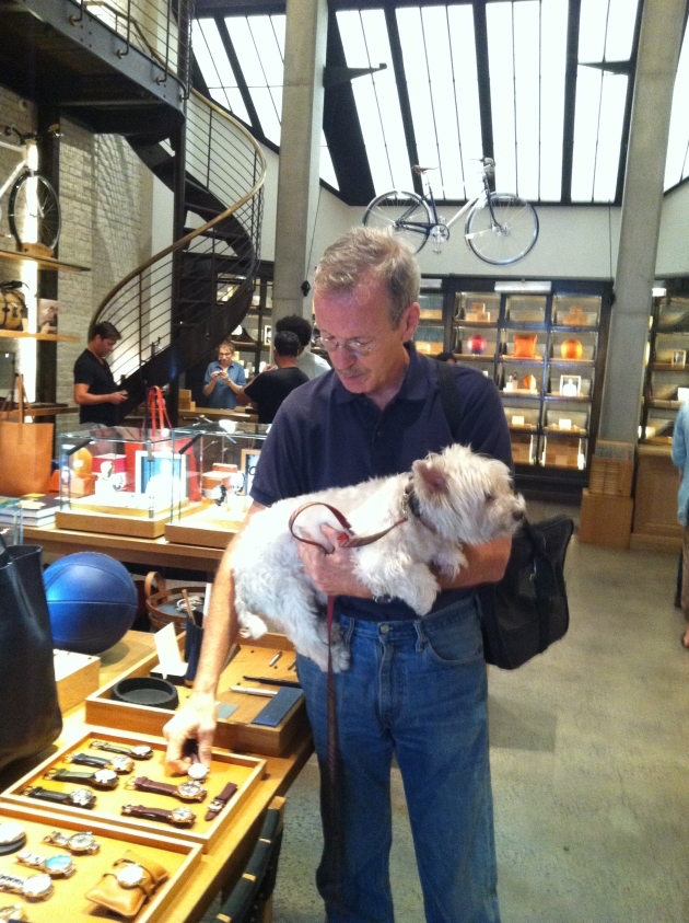 David and Spencer checking out timepieces and other offerings at the Shinola store in Tribeca.