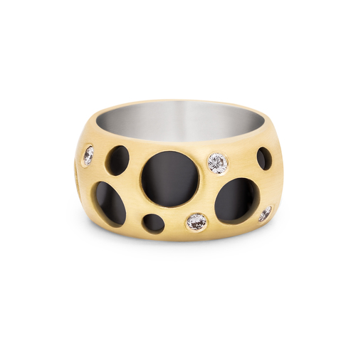 RING-HOLLOW+RING-18K+YG+AND+BRSS-MATTE-WITH+WHITE+DIAMONDS-SS+INSERT+COLOR